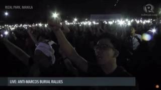 Download Mobile phone screens illuminate anti-Marcos burial rally Video