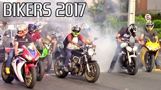 Download BIKERS 2017! Burnouts, Wheelies, Stoppies and Loud Motorcycle Sounds! Video