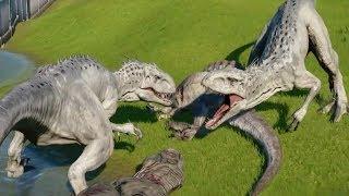 Download INDOMINUS REX MAX Vs TYRANNOSAURUS REX,SPINOSAURUS,INDORAPTOR,CARNOTAURUS - Jurassic World Evolution Video