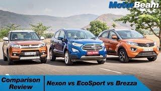 Download Tata Nexon vs Maruti Vitara Brezza vs Ford EcoSport - Automatic Rivalry   MotorBeam Video