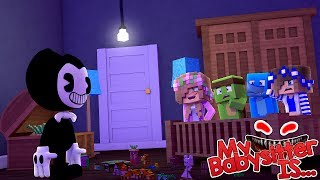 Download MY BABYSITTER IS ..... BENDY AND THE INK MACHINE !!! Minecraft w/ Little Kelly Tiny Turtle Sharky Video