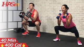 Download 40 Min Total Body Strength Workout for Women & Men - Full Body Dumbbell Workout Home Weight Training Video