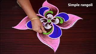 Download Simple and colourful rangoli with 7x1 dots | Easy kolam | Muggulu | Cute rangoli Video