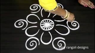 Download Cute n easy free hand Shanku kolam designs    new rangoli muggulu arts Video