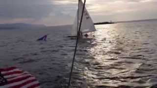 Download E-SCOW capsizing after duel with Kiwi 35 Racing sailboat Bellingham Bay Aug 1 Video