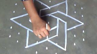 Download Chukkala muggulu designs with 9x5 dots //simple kolam designs//Easy Rangoli designs with dots Video