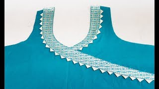 Download Stylish Front Neck Designs (Angrakha Style) Cutting and Stitching Video