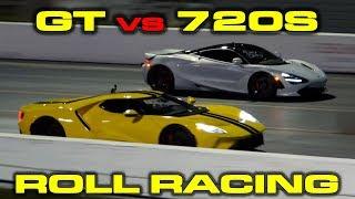 Download 2018 Ford GT vs McLaren 720S 1/4 Mile Roll Racing Video