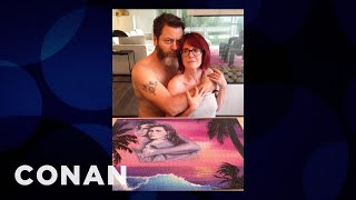 Download Megan Mullally & Nick Offerman's Cheesy Puzzle Pictures - CONAN on TBS Video