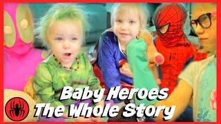 Download The Whole Story: Baby Heroes Hulk & Supergirl w kid deadpool, spiderman, pink girlpool SuperHeroKids Video
