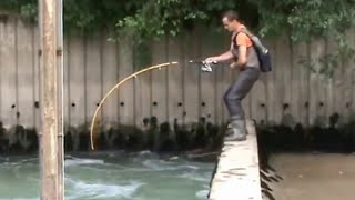Download CRAZY MAN FIGHT BIG CATFISH OVER A DAM IN A STRONG RIVER CURRENT - HD by CATFISH WORLD Video