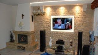 Download Ściana Tv w salonie z kominkiem - Kamień dekoracyjny-ozdobny na ścianie - Tv Wande Video