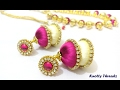 Download How to make Dual Colored Silk Thread Jhumkas at Home | Tutorial | Earrings | Knotty Threadz ! Video
