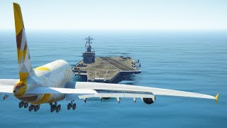Download Airbus A380 Emergency Landing On Aircraft Carrier | GTA 5 Video