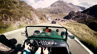 Download Caterham 485 on Sustenpass //pure roads (Porsche Turbo, Cayman S and Nissan GT-R 2015) Video