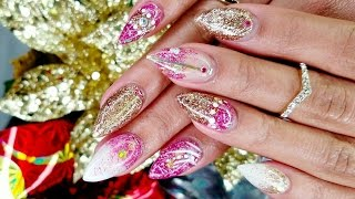 Download Pink White & Gold GLITTERED ACRYLIC NAILS Tutorial + NAIL ART! Video