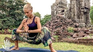 Download Yoga For Tight Hips & Flexibility ♥ Mind- Body Release | Khmer Temple Ruins Video