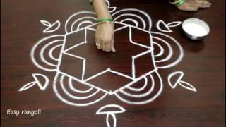Download rangoli art designs for diwali with 5 to 3 interlaced dots- simple kolam designs- muggulu designs Video