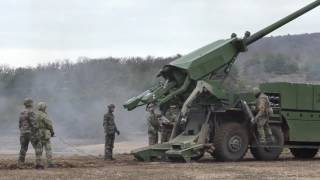 Download Danish troops firing CAESAR 8x8 self-propelled artillery system Video