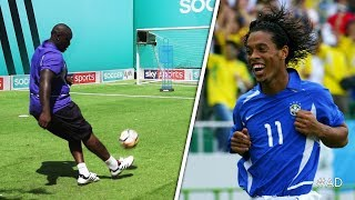 Download Akinfenwa attempts to recreate Ronaldinho's UNBELIEVABLE free-kick against England Video