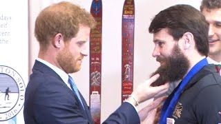 Download Prince Harry Tickles Wounded Veterans Beard At Ceremony Video