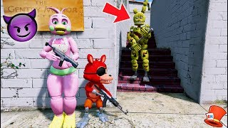 Download CAN FLOWER CHICA & FNAF WORLD FOXY HIDE FROM SPRINGTRAP? (GTA 5 Mods For Kids FNAF RedHatter) Video