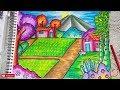 Download Pemandangan Gunung - Cara menggambar dan mewarnai dengan gradasi warna oil pastel MUDAH Video