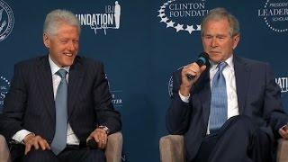 Download Bill Clinton, George W. Bush laugh and jab at one another Video