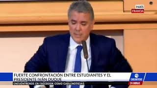 Download Fuerte confrontación entre el Presidente Duque y estudiantes en París Video