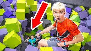 Download HE WAS HIDING AT THE TRAMPOLINE PARK!! Video