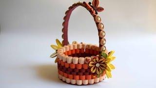 Download Quilled Basket Part 1: Paper Basket/ Quilling Basket/ Quilled Flower Basket Video