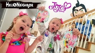 Download Hello Neighbor in Real Life JoJo Siwa Blind Bags Scavenger Hunt!! Mini Bows and Tags! Video