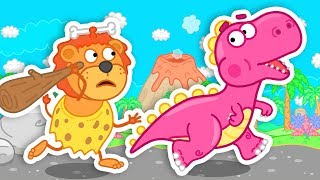 Download Lion Family Time Travel to Dinosaurs Time Cartoon for Kids Video