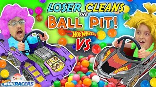 Download LOSER CLEANS BALL PIT BALLS: HOTWHEELS RACE! FGTEEV Father vs Son OSMO MIND RACERS iPad App Game! Video