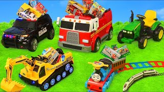 Download Fire Truck, Tractor, Excavator, Police Cars & Train Ride On | Toy Vehicles Surprise for Kids Video