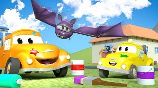 Download HALLOWEEN ! Baby Hector the HELICOPTER is a BAT ! - Tom's Paint Shop in Car City 🎨 l Cartoons Kids Video