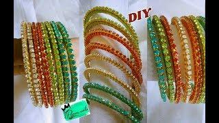 Download Silk thread thin bangle set - How to make silk thread bangle set   jewellery tutorials Video