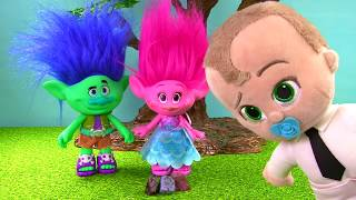 Download Trolls Poppy Branch Boss Baby Fly Barbie Airplane to Dig It Toys for Gold Silver Video