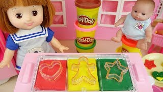 Download Baby Doll and Play Doh cookie cooking toys baby Doli play Video