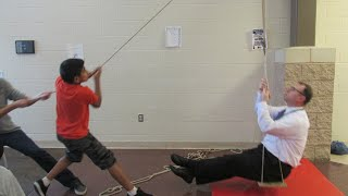 Download Single and compound pulleys review - lifting our principal // Homemade Science with Bruce Yeany Video