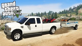 Download Ford F350 Super Duty 4x4 Towing Challenge! Hauling 2 ATVs Off-Road & Mudding! (GTA 5 PC Mods) Video
