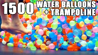 Download 1500 Water Balloons + Trampoline- SLO MO!! Video