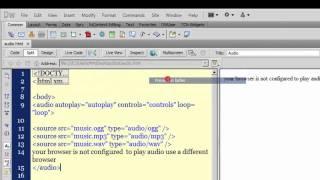 Download Dreamweaver cs5 tutorial: Playing audio with Dreamweaver Video
