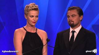 Download Charlize Theron and Leonardo DiCaprio present award to Steve Warren at the #glaadawards Video