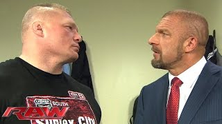 Download Brock Lesnar and Triple H cross paths in a tense backstage encounter: Raw, February 1, 2016 Video