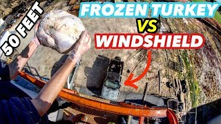 Download FROZEN TURKEY Vs. GLASS WINDSHIELD from 50ft! Video