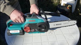 Download Bosch Ake 30 Li Cordless Chainsaw Unboxing and test Video
