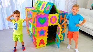 Download Vlad and Nikita pretend play and build colored Playhouse Video