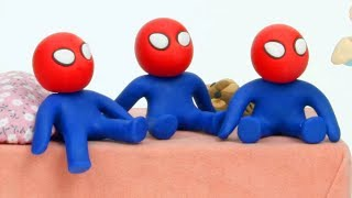 Download Baby Spiderman triplets cartoon 💕Superhero Play Doh Stop motion Video