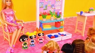 Download Powerpuff Girls Go to Barbie School & Buttercup Wants to Be Like Bubbles - Stories With Dolls & Toys Video